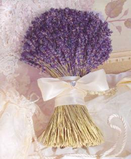 Dried Lavender Bridal Bouquet by Lavender Fanatic.