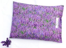 Lavender and buckwheat pillow in floral design.