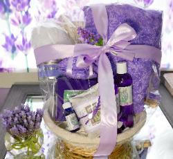 Lavender Gift Set wrapped in cellophane with bow.