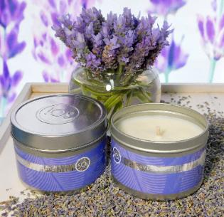 Lavender soy candle for soothing aromatherapy.